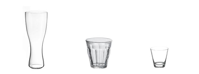3つの酒用グラス